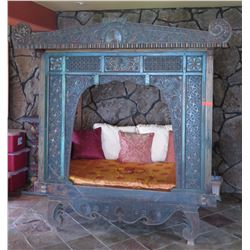 "Carved, Painted Teak Thai Bed - W:75"" D:53"" H:86"" Jeanne Marie Imports Kona"