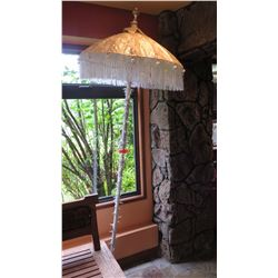 Decorative White Tasseled Umbrella w/Long Pole