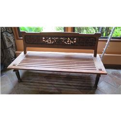 "Wide Slatted Teak Bench - W:69.5"" D:28.5"" H:36"", Jeanne Marie Imports, No Pillows"