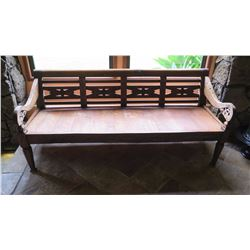 "Carved Solid Teak Bench w/Scrolled, Carved Detail - W:78"" D:28.5 H:33.5"", Jeanne Marie Imports, No P"
