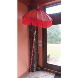 Decorative Red Tasseled Umbrella