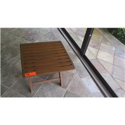 "Slatted Square Teak Side Table (Folding Table) 19""x19""x17""H"