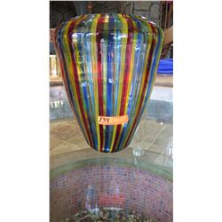 "Tall, Striped Murano Glass Candle Holder - 13"" dia, H:16"", Roche Bobois"