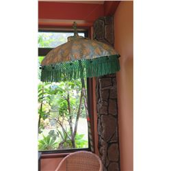Decorative Gray Jacquard Umbrella w/Green Tassels, Long Pole