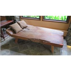 "Distressed Carved Solid Teak Chaise W:40"" L:78"" (H:23"" at head, 17"" at foot)"