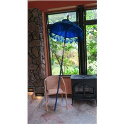Decorative Blue Tasseled Umbrella w/Long Pole