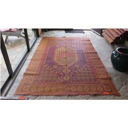 Qty 5 Large Woven Plastic Outdoor Oriental Rugs - Burgundy/Yellow