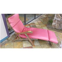 Slatted Teak Patio Chaise/Lounger w/Cushion