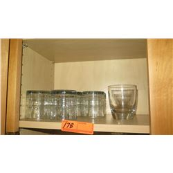 Short Beverage Glasses/Tumblers (shown on one shelf)