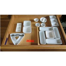 Entire Drawer of Misc. White Condiment Dishes/Trays