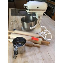 Kitchenaide Mixer w/Whisk, Paddle, & Dough Hook Attachments; 3 Rolling Pins; Sifter