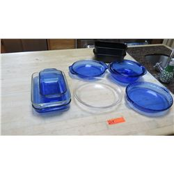 Qty 7 Assorted Glass Bakeware/Baking Dishes - Blue and Clear