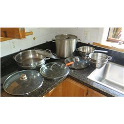 Stainless Stock Pot, Colander, and Cookware with Lids