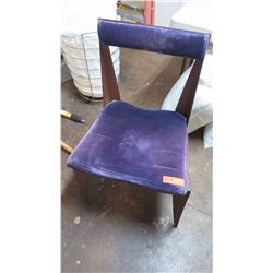 """Lacquered """"Rusted"""" Steel-Frame Chair - Purple Velvet Cushion (intentionally rusted w/glaze overlay)"""