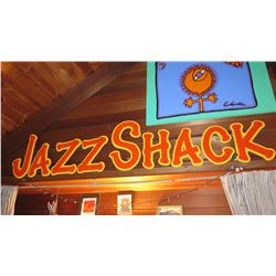 """""""Jazz Shack"""" Tropical Jazz Party Theme Props Wood Frame 8' Long X 21"""" H"""
