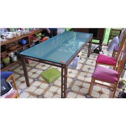 """Dining Room Table w/Glass Top -  3' X 7', """"Rusted"""" & Lacquered Base, 1-Inch Thick Glass"""