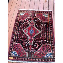 Red Persian Rug - Made in Iran, 42X54, Red, Black w/Blue & White Accents