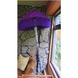 Decorative Purple Tasseled Umbrella w/Long Pole