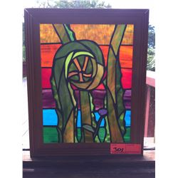 "Framed Stained Glass - ""Fern Shoot"" by Randy Goff 12.5 X 15.5"