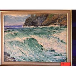 Framed Original Painting - Seascape, Artist Unknown, Untitled, No Signature, Acrylic? No 27 X 21