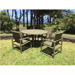"Teak Outdoor Table & 4 Chairs, Dia: 50"", H:28"", Chairs W:22.5"" X D:22"" X H:33.5"""