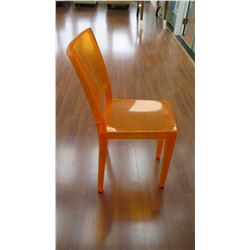 "Qty 6 Orange Acrylic Chairs: ""La Marie"" by Philippe Starck, W:15"" X D:21"" X H:34"""
