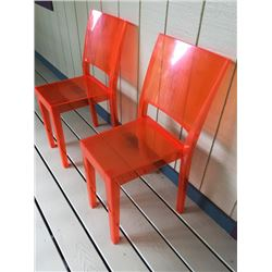 "Qty 4 Salmon Acrylic Chairs: ""La Marie"" by Philippe Starck, W:15"" X D:21"" X H:34"""