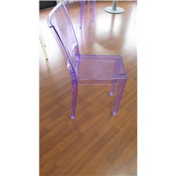 "Qty 6 Violet Acrylic Chairs: ""La Marie"" by Philippe Starck, W:15"" X D:21"" X H:34"""