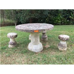 "Stone Table & 4 Stools - one stool missing top (broke) and base is broken (photo 5). Table: H: 31"" /"