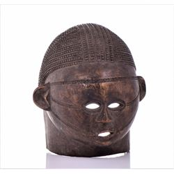 Large Impressive African Makonde Wood Carved Mask.