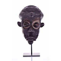Exceptional African Lulua Wood Mask, Congo. Heavil