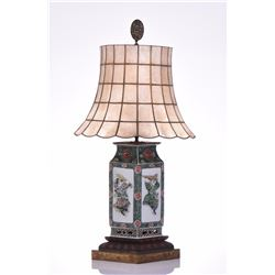 Vintage Chinese Porcelain Lamp With Capiz Shell Br