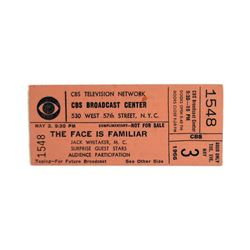 "CBS Game Show Ticket  ""The Face is Familiar"" 1966"