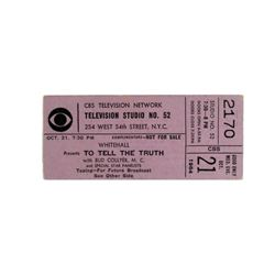 "CBS Game Show Ticket  ""To Tell The Truth"" 1964"