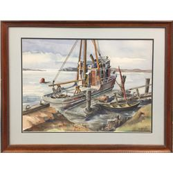 John W. Burgess, Fishing Boat, Tempera and Watercolor Painting