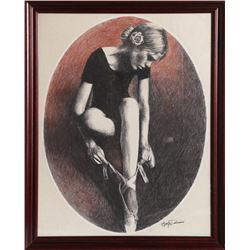 Ari Harpaz, Ballet Dancer, Pastel Drawing