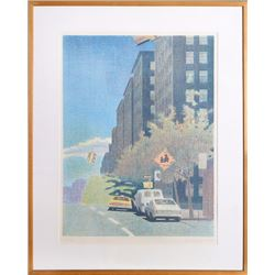 Richard Mills, City Street, Lithograph