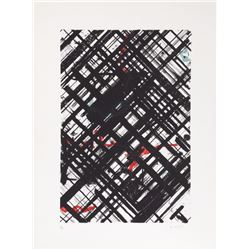 Ed Moses, Black Crosshatch with Red/Green, Lithograph