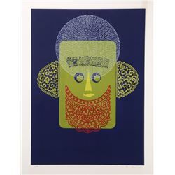 Eric Newton, Abstract Face with Beard, Relief Print