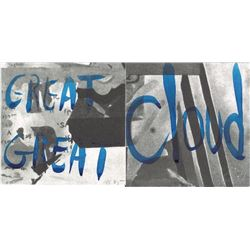 David Salle, Great Great Cloud, Watercolor on Lithograph Diptych