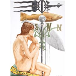 Philip Pearlstein, Nude Model with Banner and Fish Weathervanes, Lithograph