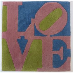 Robert Indiana, Rose LOVE, Wool Tufted Rug by Master Artist Rug