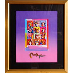 Peter Max, Twelve Liberty Heads, Acrylic and Collage Painting