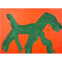 Peter Mayer, Dog (Green on Orange) (17), Acrylic Painting