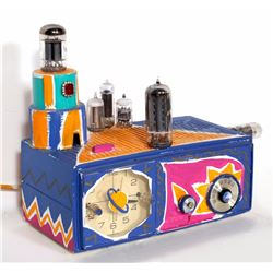 Kenny Scharf, Clock Radio, Painted and Collaged Electric Clock Radio