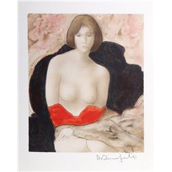 Alain Bonnefoit, Nude with Red Cloth, Lithograph