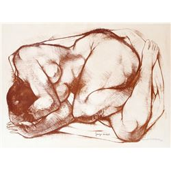 Georges Oudot, Curled Nude, Lithograph