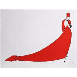 Rene Gruau, Woman in a Red Dress, Lithograph