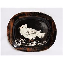 Pablo Picasso, Colombe Sur Lit de Paille (Dove on a Straw Bed) (variant), Ceramic Platter