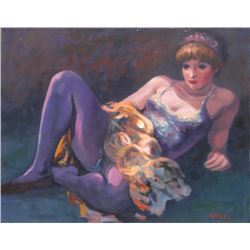 Philippe Alfieri, Dancer in Purple, Oil Painting